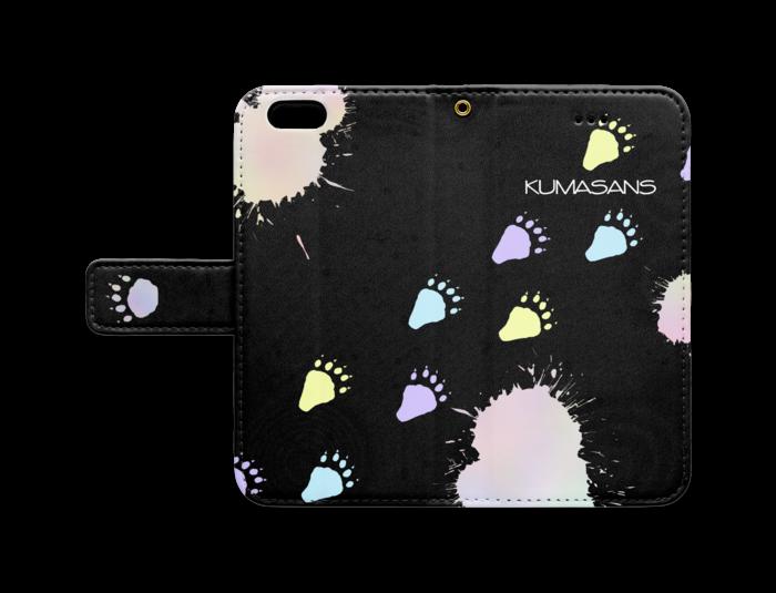 手帳型iPhoneケース - iPhone 6 / 6s - ストラップ穴 あり(黒)