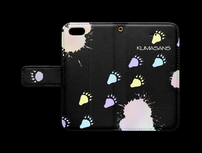手帳型iPhoneケース - iPhone 5 / 5s / SE - ストラップ穴 あり(黒)