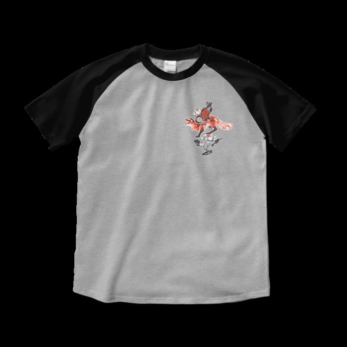 ラグランTシャツ - M - 杢グレー×ブラック