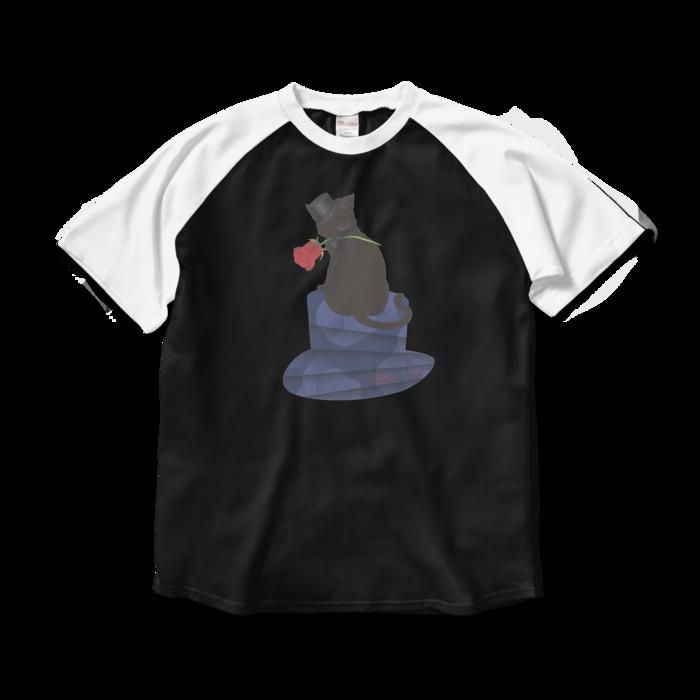 ラグランTシャツ - L - ブラック×ホワイト
