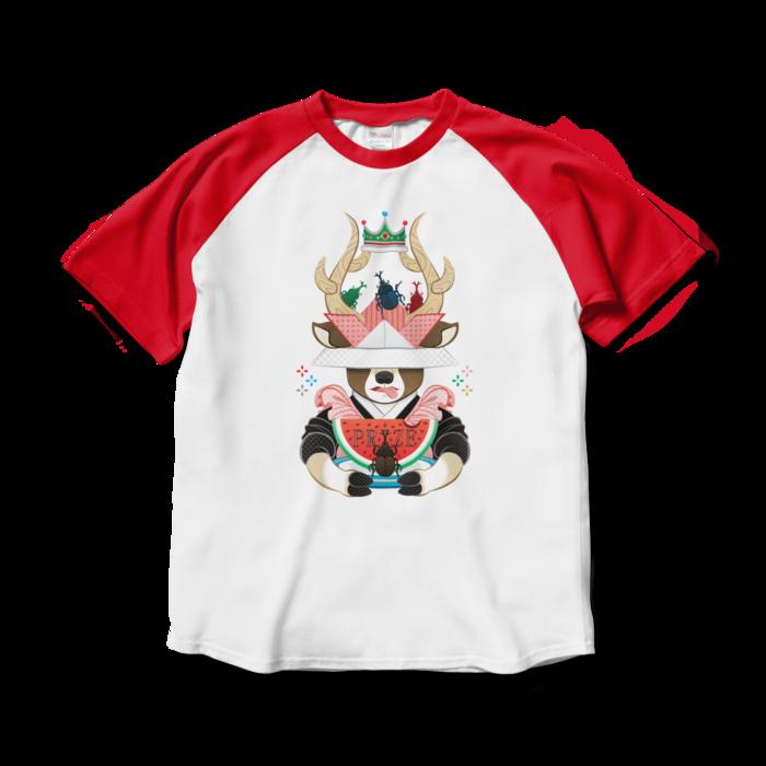 ラグランTシャツ - L - ホワイト×レッド