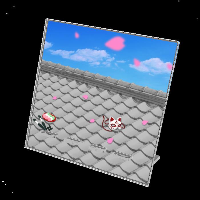 アクリルスマホスタンド(屋根上の狐面) - 160x160mm