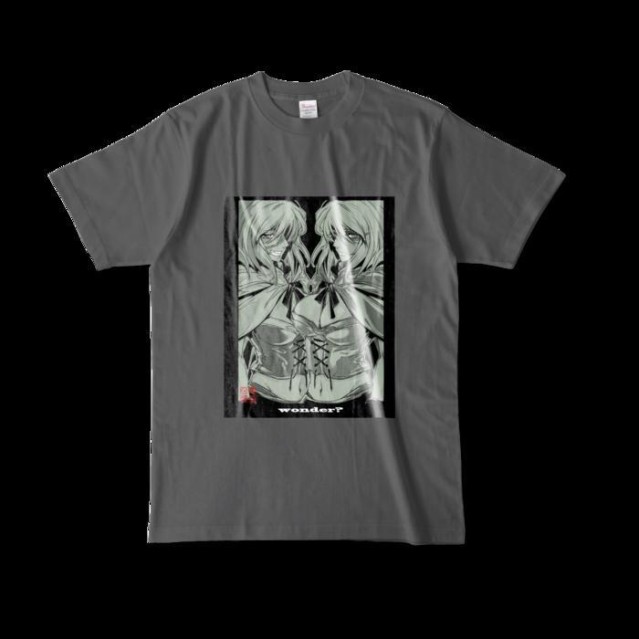 カラーTシャツ(濃色) - L - 正面 - チャコール