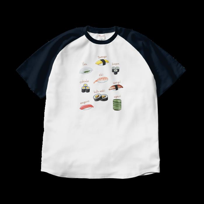 ラグランTシャツ - XL - ホワイト×ネイビー