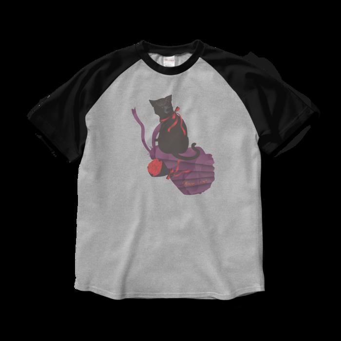 ラグランTシャツ - L - 杢グレー×ブラック