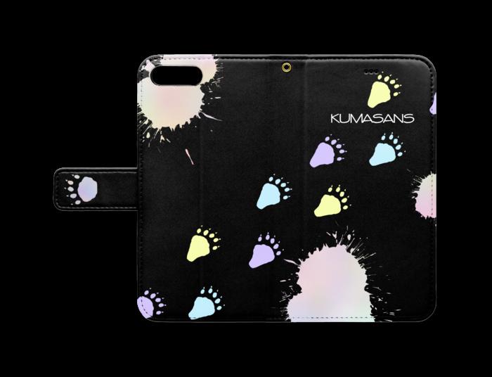 手帳型iPhoneケース - iPhone 8 Plus / 7 Plus - ストラップ穴 あり(黒)