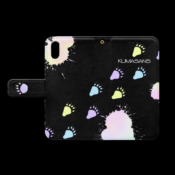 手帳型iPhoneケース - iPhone XS / X - ストラップ穴 あり(黒)