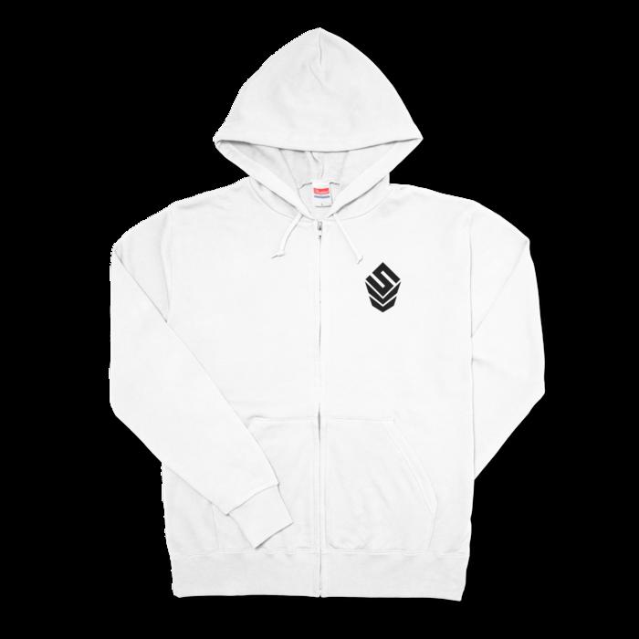 ジップパーカー - L - 左胸【SIZE:L - White】