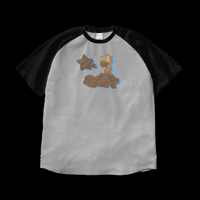 ラグランTシャツ - XL - 杢グレー×ブラック