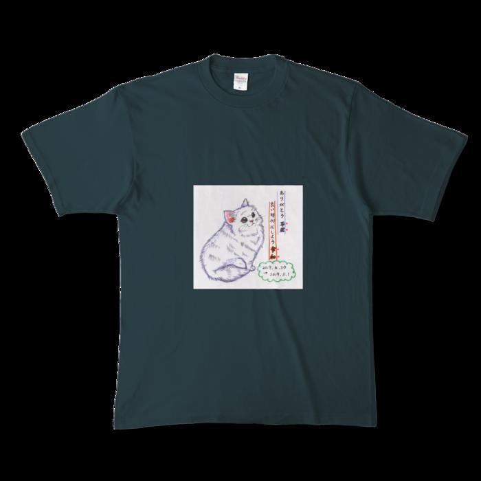 カラーTシャツ(濃色) - XL - 正面 - デニム