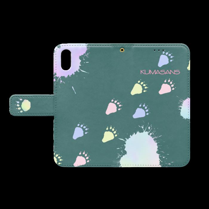手帳型iPhoneケース - iPhone XS / X - ストラップ穴 あり(緑)