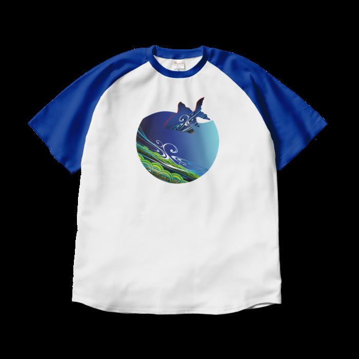 ラグランTシャツ - XL - ホワイト×ロイヤルブルー
