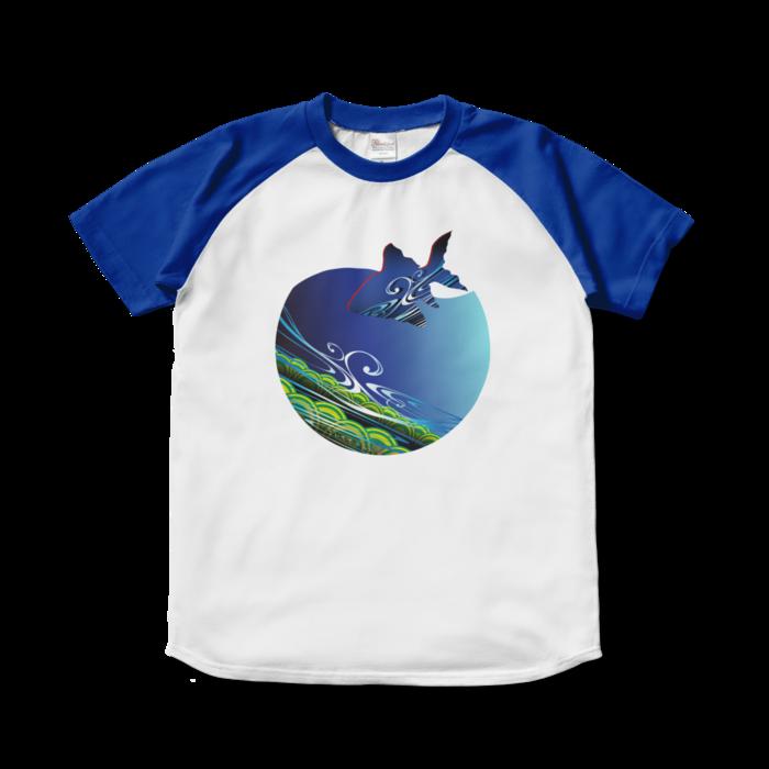 ラグランTシャツ - S - ホワイト×ロイヤルブルー