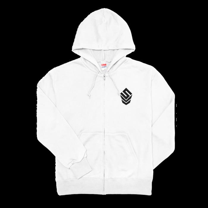 ジップパーカー - M - 左胸【SIZE:M - White】