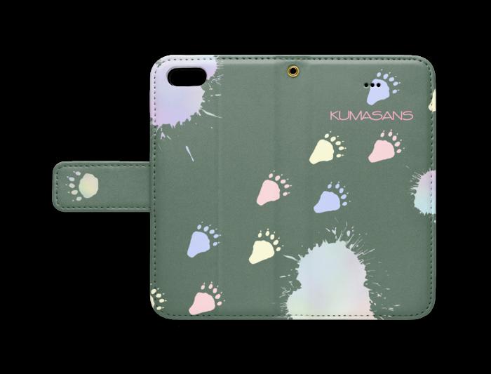 手帳型iPhoneケース - iPhone 5 / 5s / SE - ストラップ穴 あり(緑)