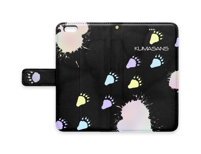 手帳型iPhoneケース - iPhone 6 Plus / 6s Plus - ストラップ穴 あり(黒)