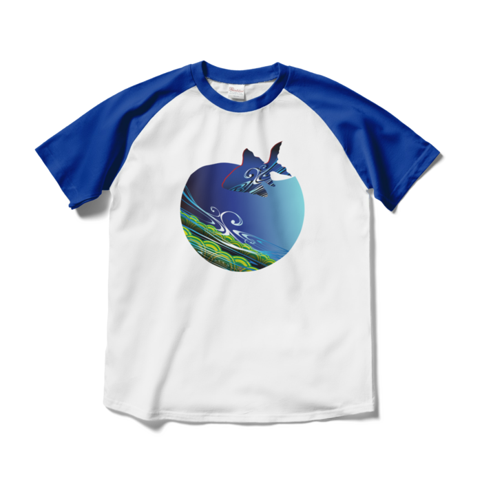 ラグランTシャツ - M - ホワイト×ロイヤルブルー